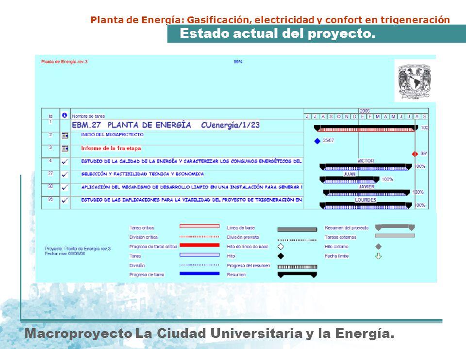 Macroproyecto La Ciudad Universitaria y la Energía. Planta de Energía: Gasificación, electricidad y confort en trigeneración Estado actual del proyect
