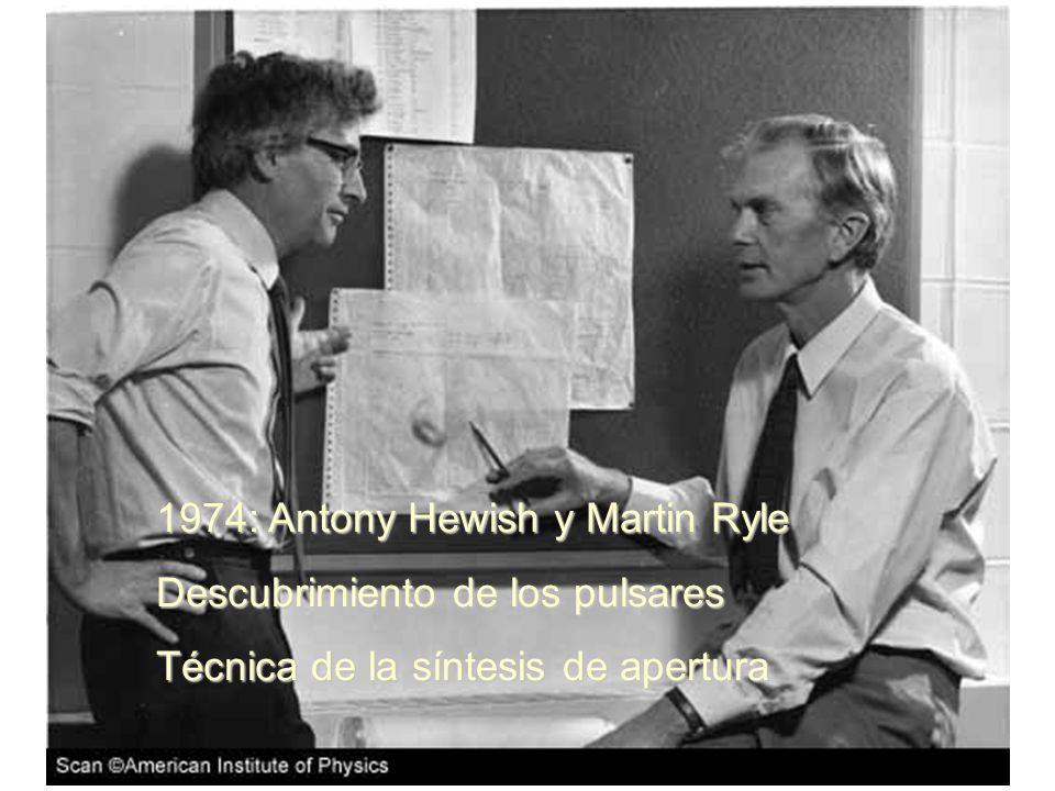 1974: Antony Hewish y Martin Ryle Descubrimiento de los pulsares Técnica de la síntesis de apertura
