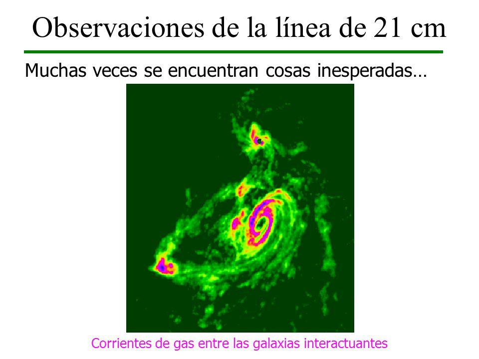 Observaciones de la línea de 21 cm Muchas veces se encuentran cosas inesperadas… Optical image of M81 Group (DSS) Corrientes de gas entre las galaxias
