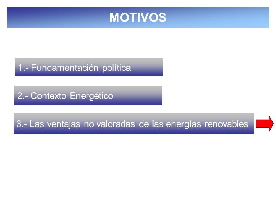 16 1.- Fundamentación política 2.- Contexto Energético 3.- Las ventajas no valoradas de las energías renovables MOTIVOS