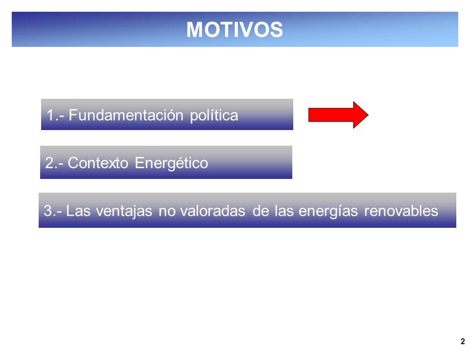2 1.- Fundamentación política 2.- Contexto Energético 3.- Las ventajas no valoradas de las energías renovables MOTIVOS