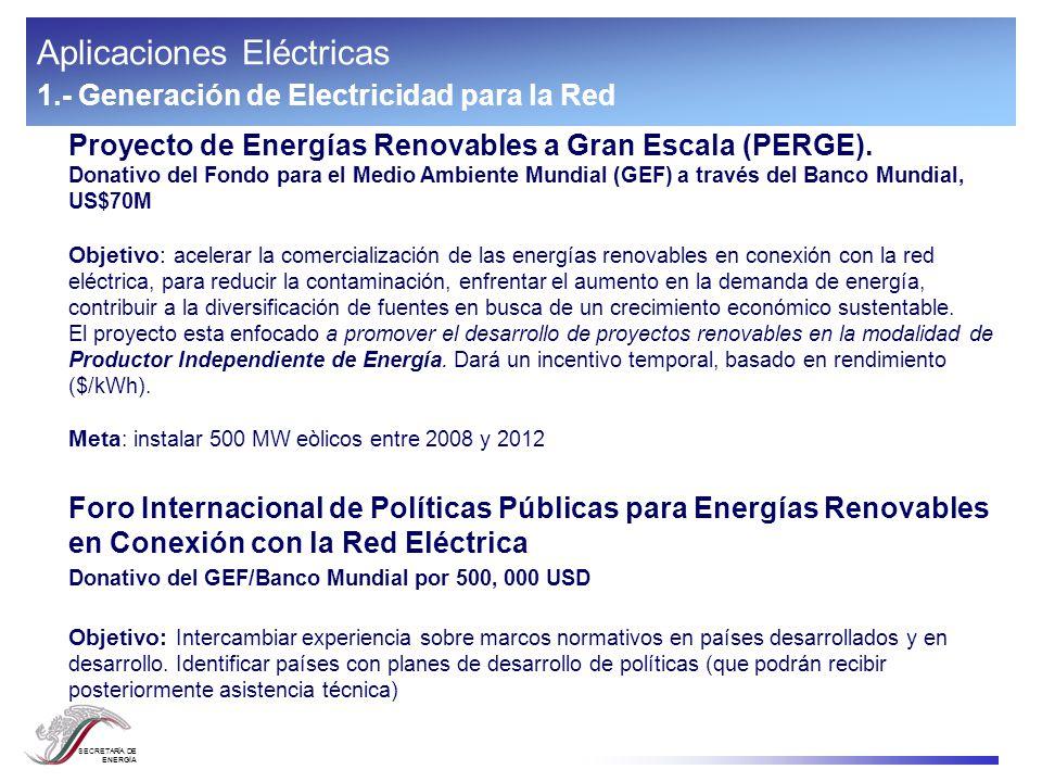 SECRETARÍA DE ENERGÍA Aplicaciones Eléctricas 2.- Electricidad fuera de la red (Electrificación Rural) Programa de Electrificación Rural con Energías Renovables en el Sur de México (PERERSM).