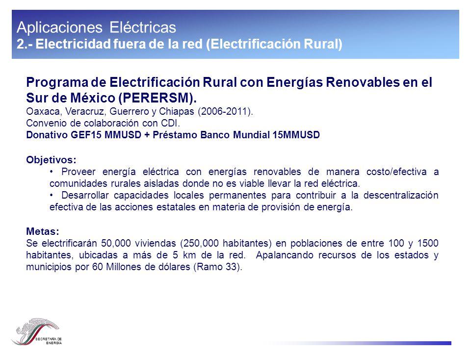 SECRETARÍA DE ENERGÍA Aplicaciones Eléctricas 2.- Electricidad fuera de la red (Electrificación Rural) Programa de Electrificación Rural con Energías