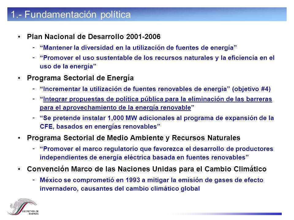 SECRETARÍA DE ENERGÍA Plan Nacional de Desarrollo 2001-2006 - Mantener la diversidad en la utilización de fuentes de energía - Promover el uso sustent