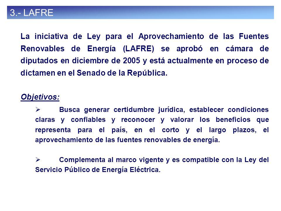 36 3.- LAFRE La iniciativa de Ley para el Aprovechamiento de las Fuentes Renovables de Energía (LAFRE) se aprobó en cámara de diputados en diciembre d