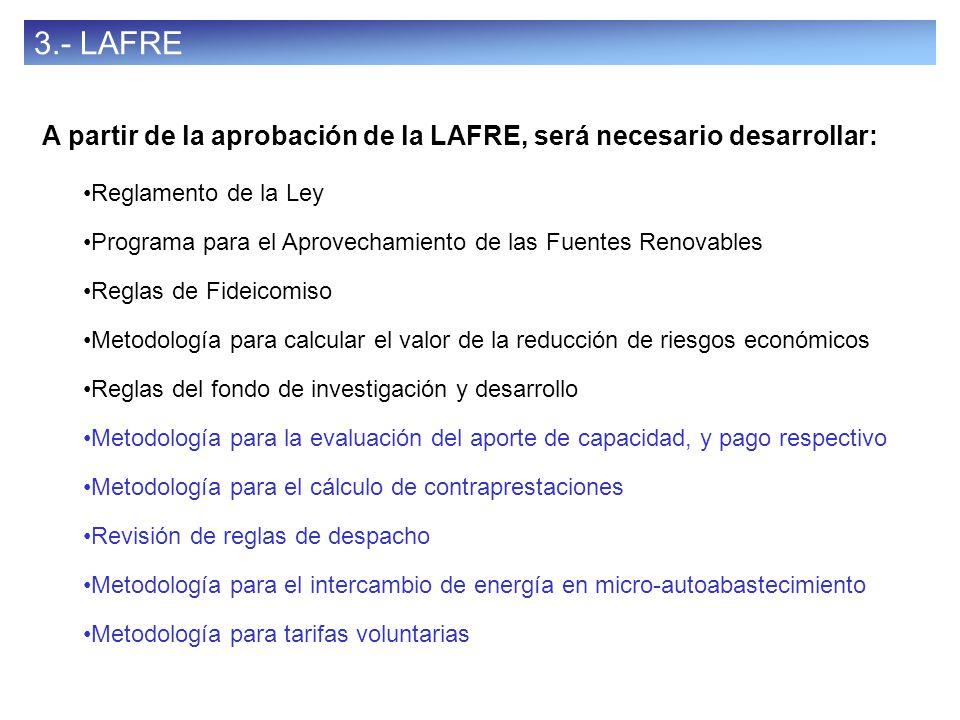 41 3.- LAFRE A partir de la aprobación de la LAFRE, será necesario desarrollar: Reglamento de la Ley Programa para el Aprovechamiento de las Fuentes R