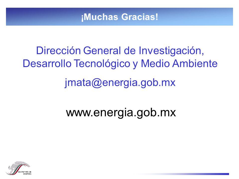 SECRETARÍA DE ENERGÍA ¡Muchas Gracias! www.energia.gob.mx Dirección General de Investigación, Desarrollo Tecnológico y Medio Ambiente jmata@energia.go