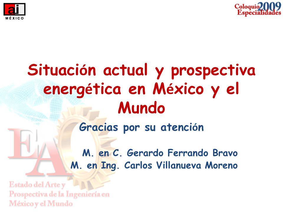 Situaci ó n actual y prospectiva energ é tica en M é xico y el Mundo Gracias por su atenci ó n M. en C. Gerardo Ferrando Bravo M. en Ing. Carlos Villa