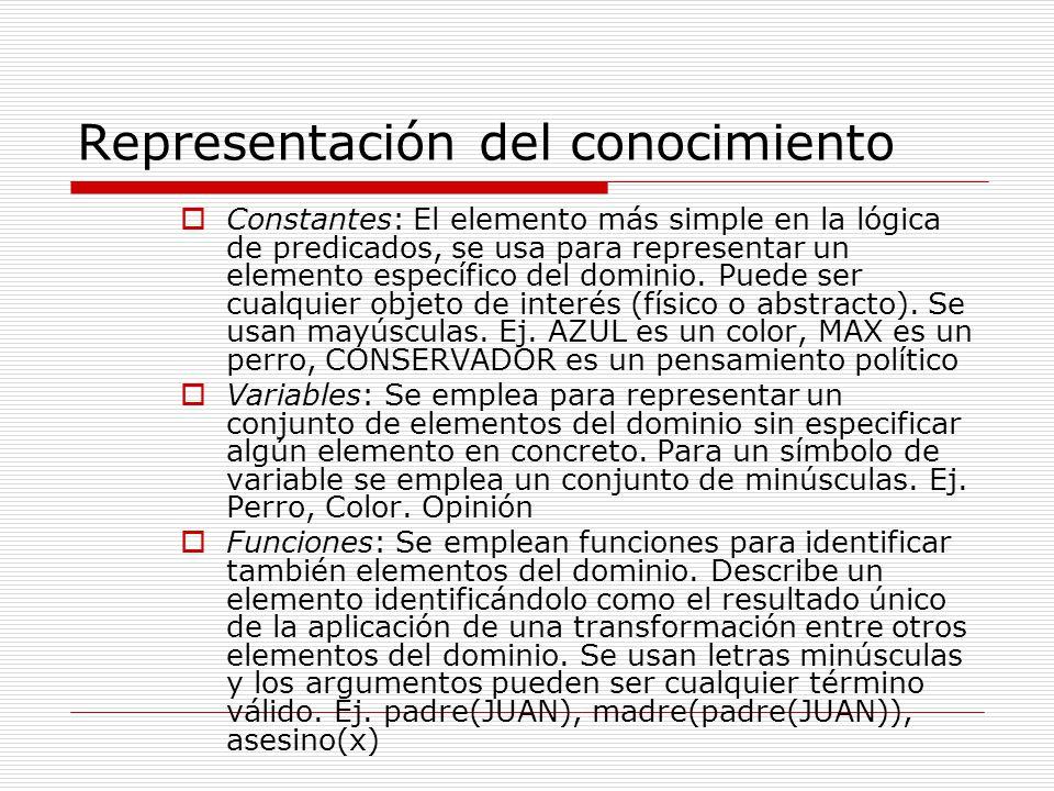 Representación del conocimiento Constantes: El elemento más simple en la lógica de predicados, se usa para representar un elemento específico del dominio.