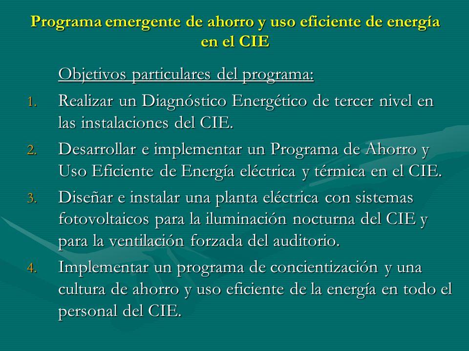 Programa emergente de ahorro y uso eficiente de energía en el CIE Objetivos particulares del programa: 1. Realizar un Diagnóstico Energético de tercer