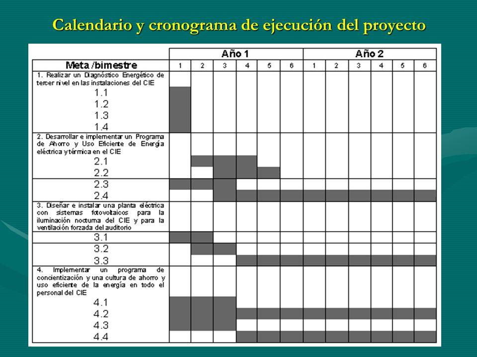 Calendario y cronograma de ejecución del proyecto