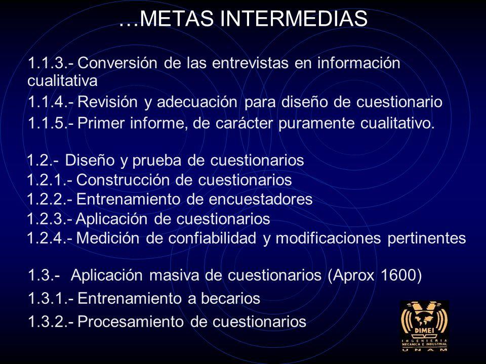 METAS INTERMEDIAS 1.- Identificación de hábitos, percepciones y actitudes de los distintos usuarios 1.1.- Estudio exploratorio Partiendo de cada uno de los cuatro objetivos formalizados en la presente propuesta, se desglosa (con dos dígitos) cada uno de ellos en las metas intermedias que se establecen en los requisitos, así como las tareas a realizar (con tres dígitos): 1.1.1.- Capacitación de entrevistadores 1.1.2.- Realización de entrevistas exploratorias