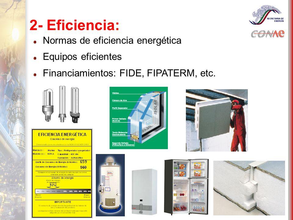2- Eficiencia: Normas de eficiencia energética Equipos eficientes Financiamientos: FIDE, FIPATERM, etc.