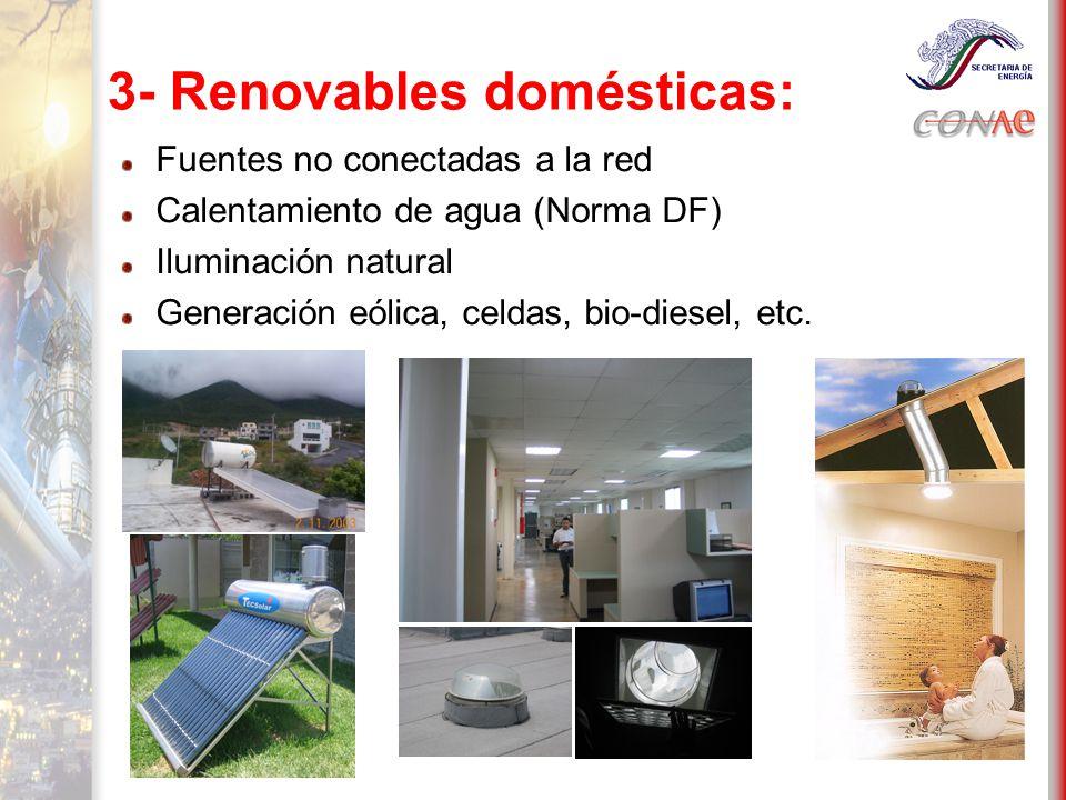3- Renovables domésticas: Fuentes no conectadas a la red Calentamiento de agua (Norma DF) Iluminación natural Generación eólica, celdas, bio-diesel, etc.
