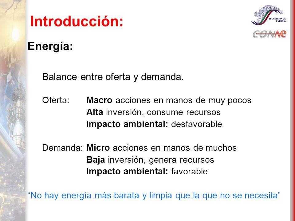 Introducción: Energía: Balance entre oferta y demanda.