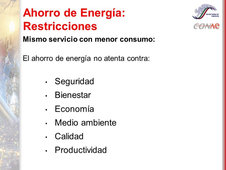 Ahorro de Energía: Restricciones Mismo servicio con menor consumo: El ahorro de energía no atenta contra: Seguridad Bienestar Economía Medio ambiente Calidad Productividad