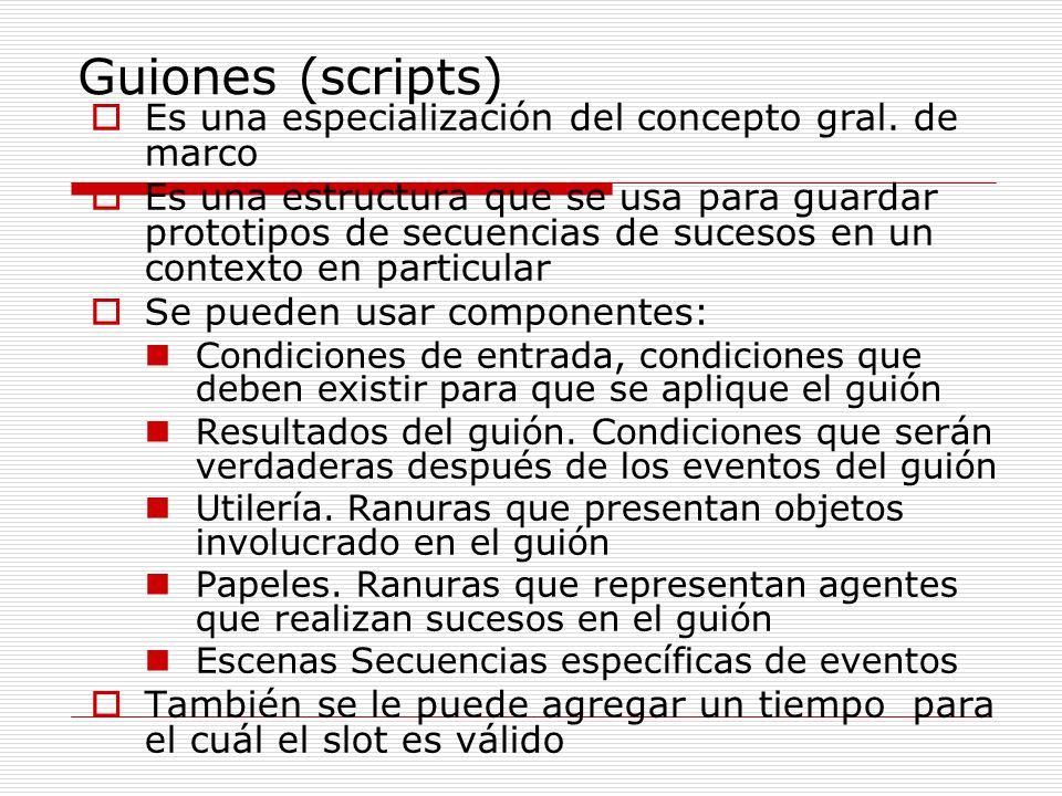Guiones (scripts) Es una especialización del concepto gral. de marco Es una estructura que se usa para guardar prototipos de secuencias de sucesos en