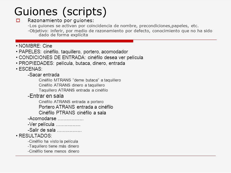 Guiones (scripts) Razonamiento por guiones: -Los guiones se activan por coincidencia de nombre, precondiciones,papeles, etc. -Objetivo: inferir, por m