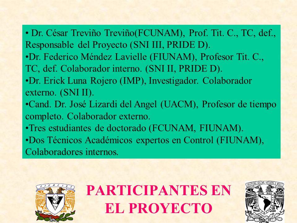 PARTICIPANTES EN EL PROYECTO Dr. César Treviño Treviño(FCUNAM), Prof. Tit. C., TC, def., Responsable del Proyecto (SNI III, PRIDE D). Dr. Federico Mén