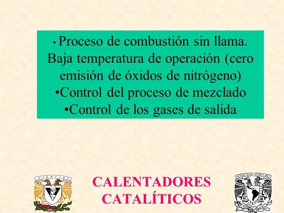 CALENTADORES CATALÍTICOS Proceso de combustión sin llama. Baja temperatura de operación (cero emisión de óxidos de nitrógeno) Control del proceso de m