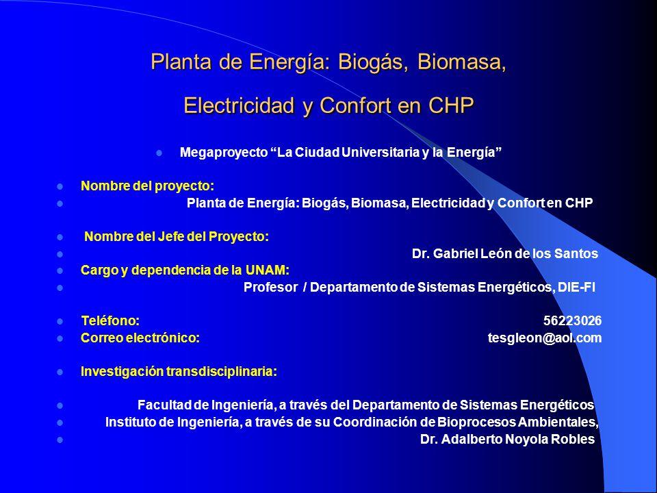 Planta de Energía: Biogás, Biomasa, Electricidad y Confort en CHP Megaproyecto La Ciudad Universitaria y la Energía Nombre del proyecto: Planta de Ene