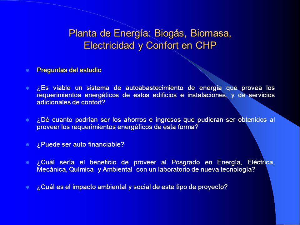 Planta de Energía: Biogás, Biomasa, Electricidad y Confort en CHP Preguntas del estudio ¿Es viable un sistema de autoabastecimiento de energía que pro