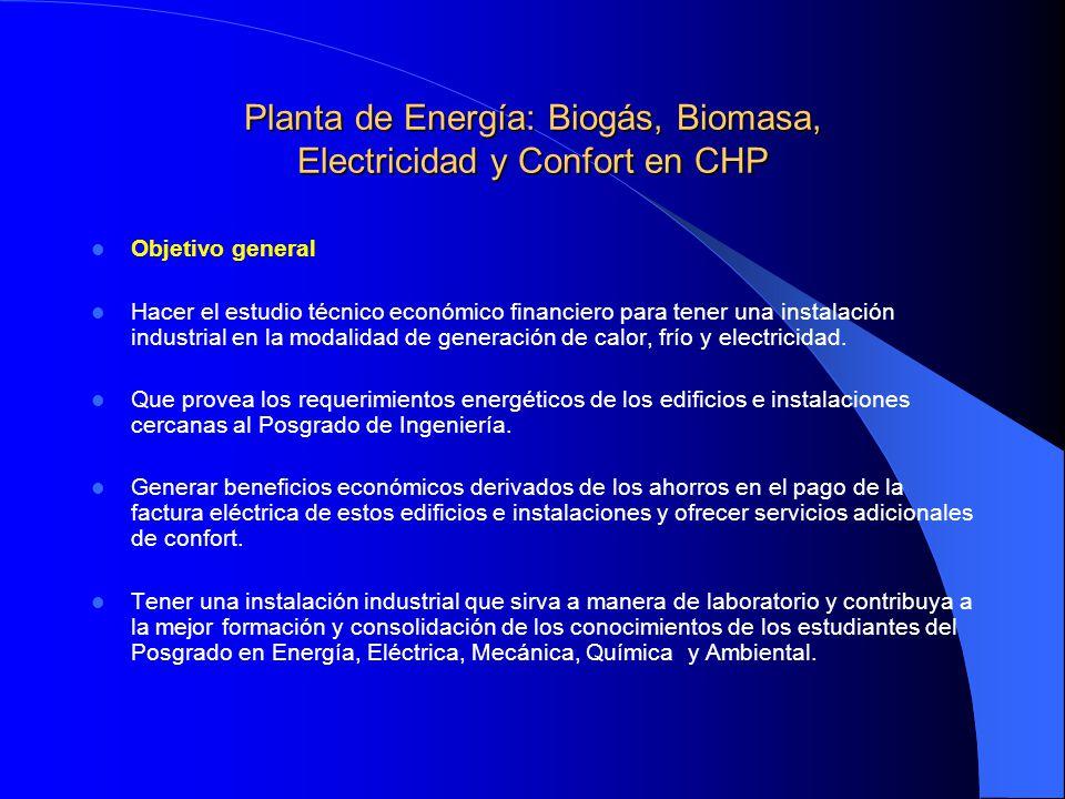 Planta de Energía: Biogás, Biomasa, Electricidad y Confort en CHP Objetivo general Hacer el estudio técnico económico financiero para tener una instal