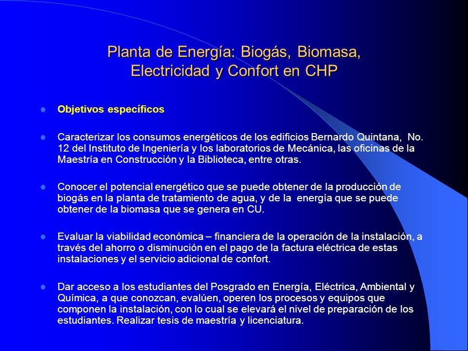 Planta de Energía: Biogás, Biomasa, Electricidad y Confort en CHP Objetivos específicos Caracterizar los consumos energéticos de los edificios Bernard