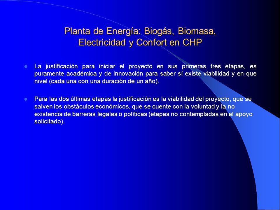 Planta de Energía: Biogás, Biomasa, Electricidad y Confort en CHP La justificación para iniciar el proyecto en sus primeras tres etapas, es puramente