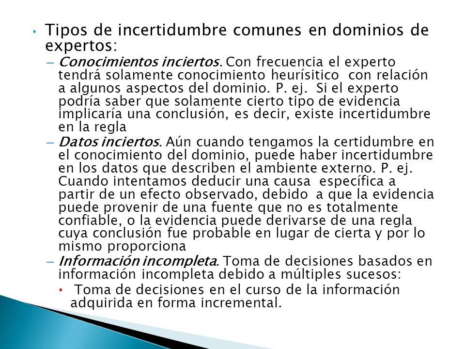 Tipos de incertidumbre comunes en dominios de expertos: – Conocimientos inciertos.