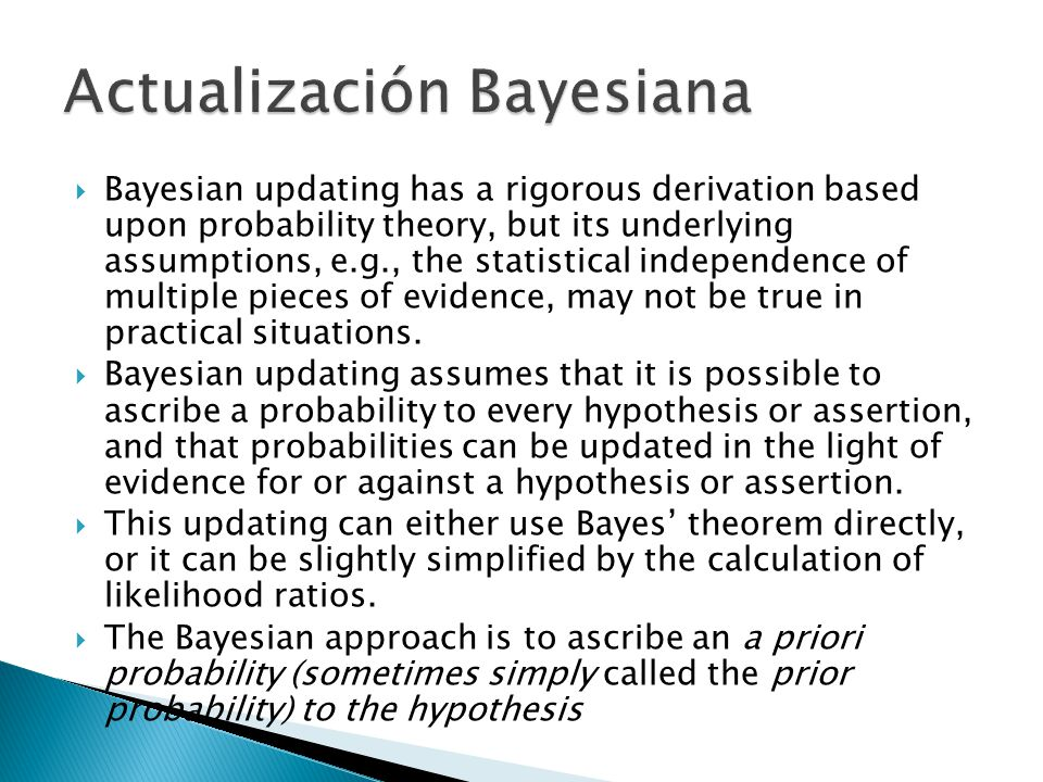 Bayesian updating has a rigorous derivation based upon probability theory, but its underlying assumptions, e.g., the statistical independence of multi
