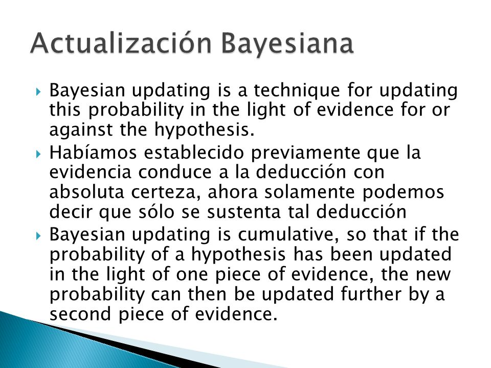 Bayesian updating is a technique for updating this probability in the light of evidence for or against the hypothesis.