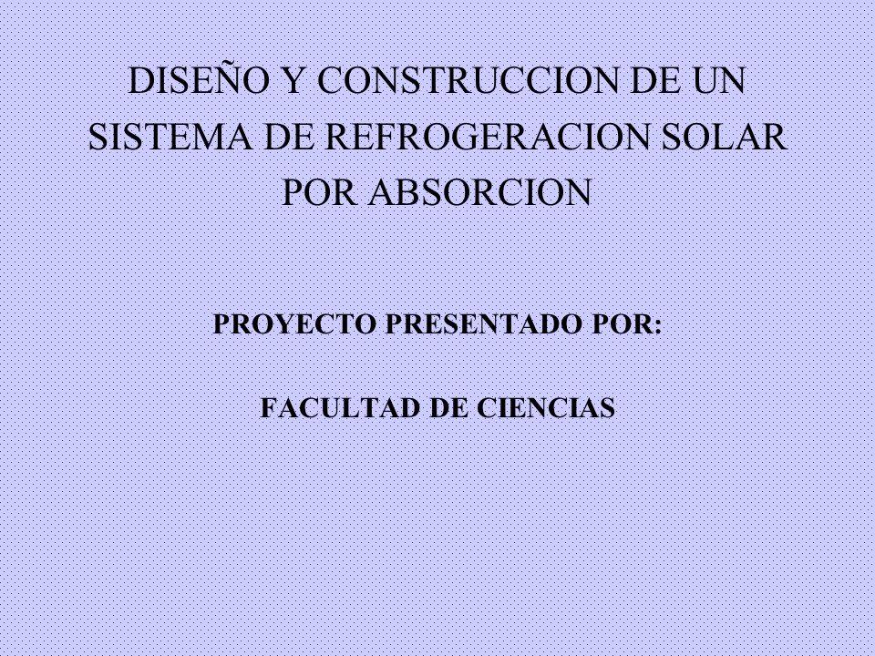 DISEÑO Y CONSTRUCCION DE UN SISTEMA DE REFROGERACION SOLAR POR ABSORCION PROYECTO PRESENTADO POR: FACULTAD DE CIENCIAS