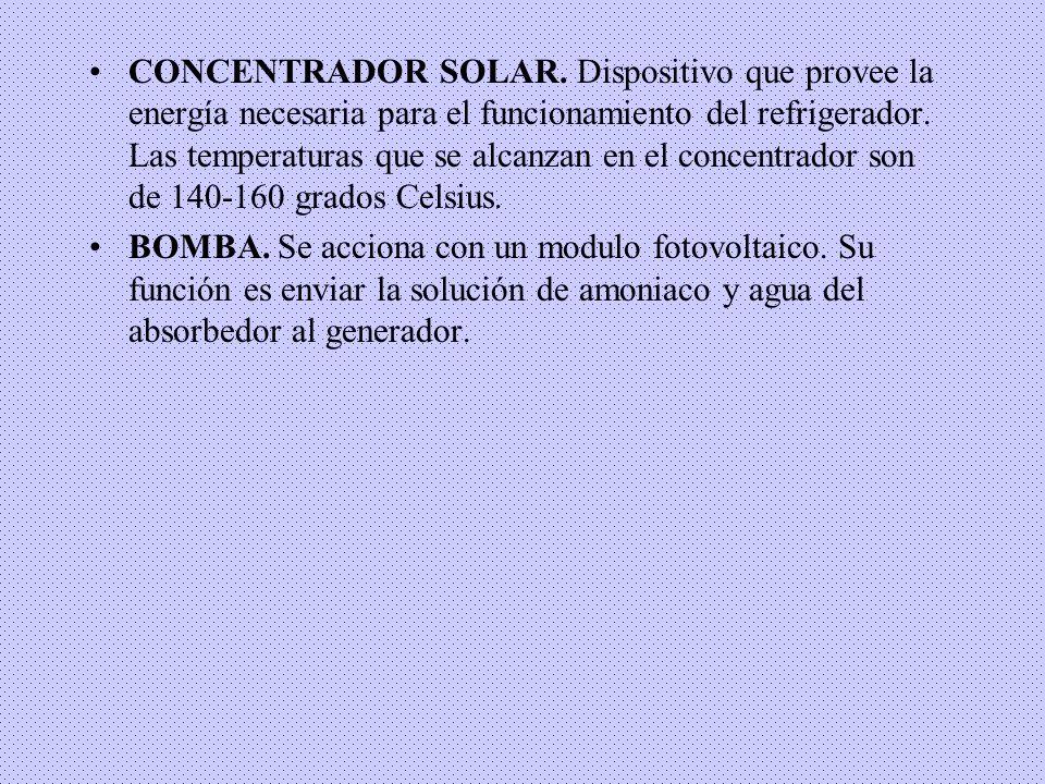 CONCENTRADOR SOLAR. Dispositivo que provee la energía necesaria para el funcionamiento del refrigerador. Las temperaturas que se alcanzan en el concen