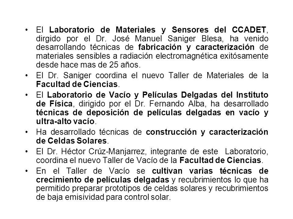 El Laboratorio de Materiales y Sensores del CCADET, dirgido por el Dr.