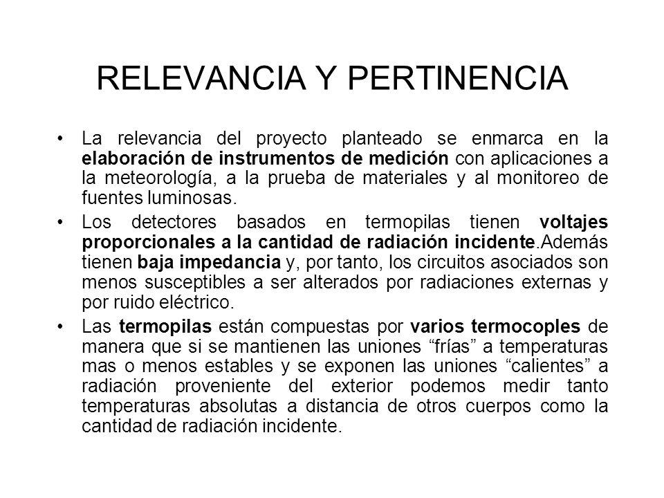 RELEVANCIA Y PERTINENCIA La relevancia del proyecto planteado se enmarca en la elaboración de instrumentos de medición con aplicaciones a la meteorología, a la prueba de materiales y al monitoreo de fuentes luminosas.