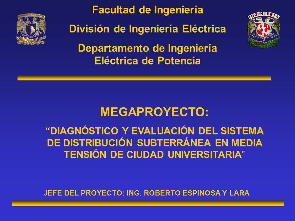 Facultad de Ingeniería División de Ingeniería Eléctrica Departamento de Ingeniería Eléctrica de Potencia MEGAPROYECTO: DIAGNÓSTICO Y EVALUACIÓN DEL SISTEMA DE DISTRIBUCIÓN SUBTERRÁNEA EN MEDIA TENSIÓN DE CIUDAD UNIVERSITARIA JEFE DEL PROYECTO: ING.