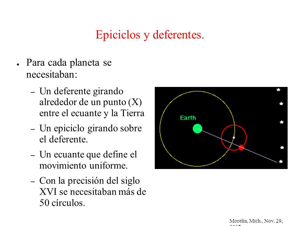 Morelia, Mich., Nov. 29, 2007 Epiciclos y deferentes. Para cada planeta se necesitaban: – Un deferente girando alrededor de un punto (X) entre el ecua