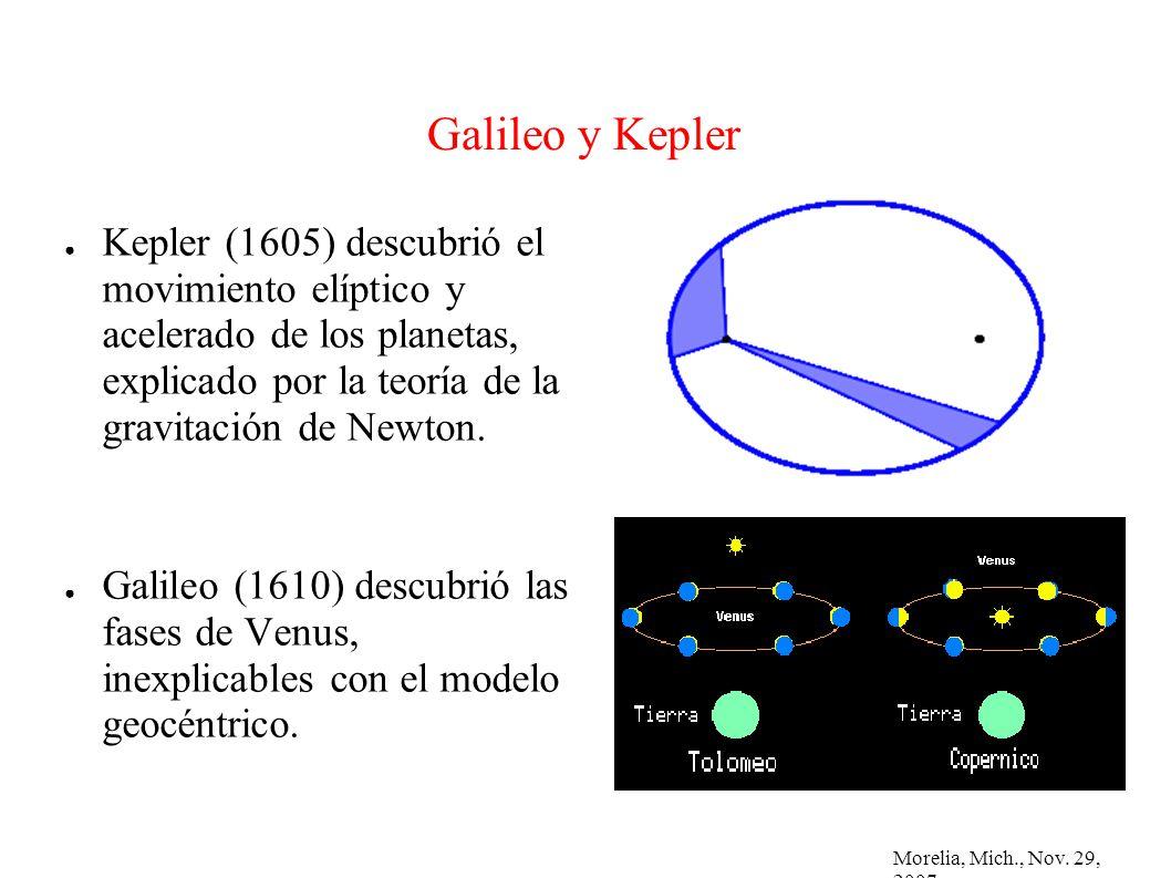 Morelia, Mich., Nov. 29, 2007 Galileo y Kepler Kepler (1605) descubrió el movimiento elíptico y acelerado de los planetas, explicado por la teoría de