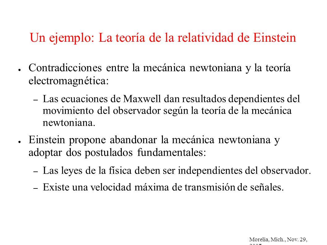Morelia, Mich., Nov. 29, 2007 Un ejemplo: La teoría de la relatividad de Einstein Contradicciones entre la mecánica newtoniana y la teoría electromagn