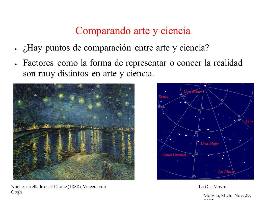 Morelia, Mich., Nov. 29, 2007 Comparando arte y ciencia ¿Hay puntos de comparación entre arte y ciencia? Factores como la forma de representar o conce