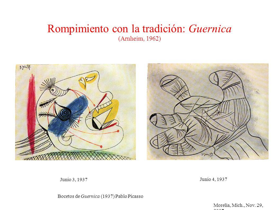 Morelia, Mich., Nov. 29, 2007 Rompimiento con la tradición: Guernica (Arnheim, 1962) Bocetos de Guernica (1937) Pablo Picasso Junio 4, 1937 Junio 3, 1