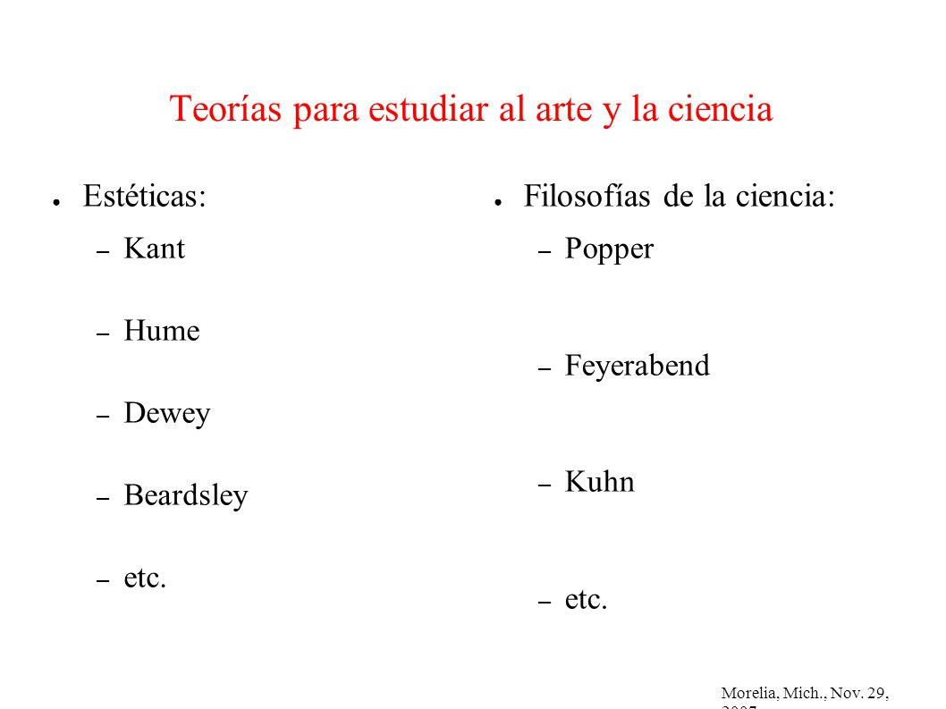 Morelia, Mich., Nov. 29, 2007 Teorías para estudiar al arte y la ciencia Estéticas: – Kant – Hume – Dewey – Beardsley – etc. Filosofías de la ciencia: