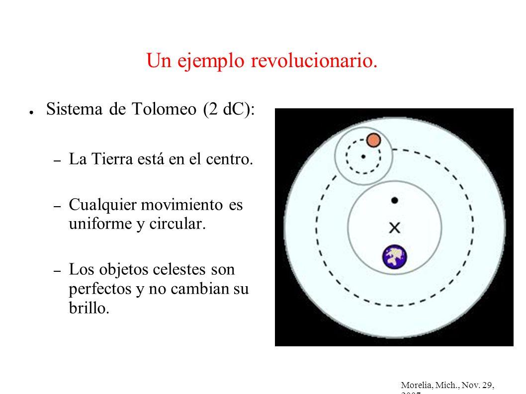 Morelia, Mich., Nov. 29, 2007 Un ejemplo revolucionario. Sistema de Tolomeo (2 dC): – La Tierra está en el centro. – Cualquier movimiento es uniforme