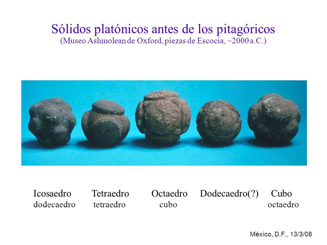 México, D.F., 13/3/08 Sólidos platónicos antes de los pitagóricos (Museo Ashmolean de Oxford, piezas de Escocia, ~2000 a.C.) Icosaedro Tetraedro Octaedro Dodecaedro(?) Cubo dodecaedro tetraedro cubo octaedro
