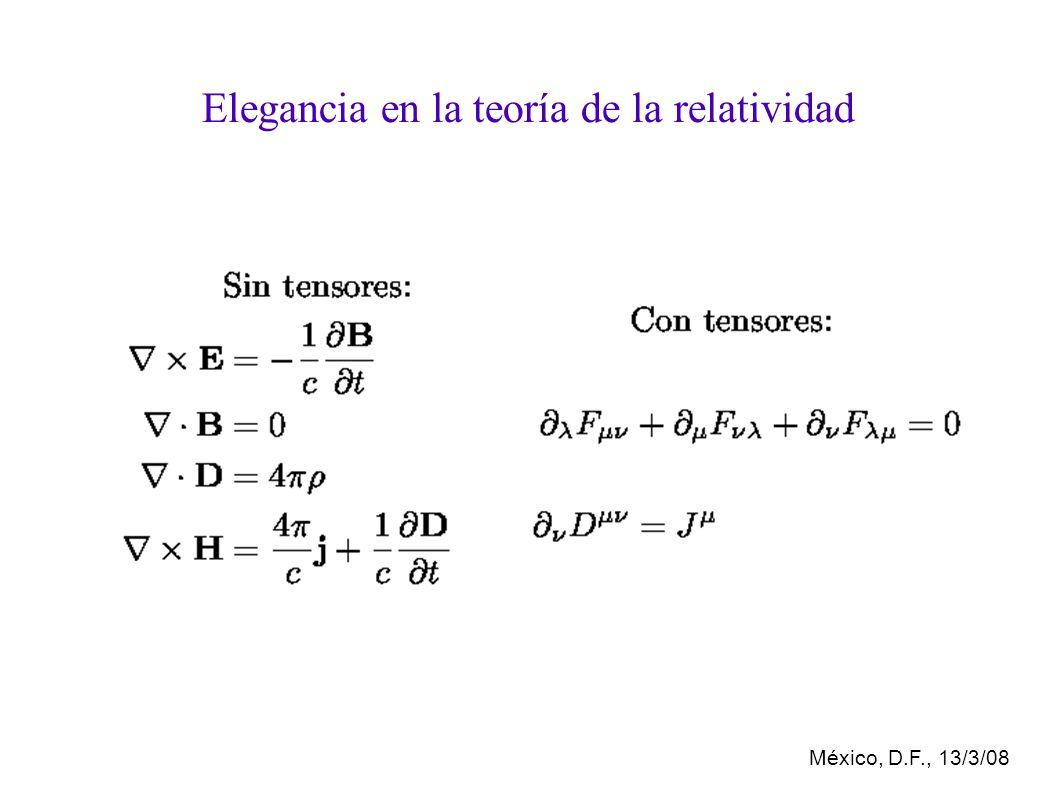 México, D.F., 13/3/08 Elegancia en la teoría de la relatividad