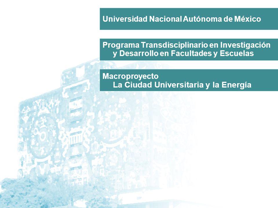 Programa Transdisciplinario en Investigación y Desarrollo en Facultades y Escuelas Macroproyecto La Ciudad Universitaria y la Energía Universidad Nacional Autónoma de México