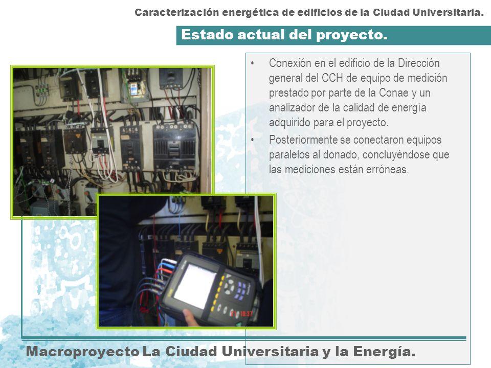Estado actual del proyecto. Macroproyecto La Ciudad Universitaria y la Energía. Conexión en el edificio de la Dirección general del CCH de equipo de m