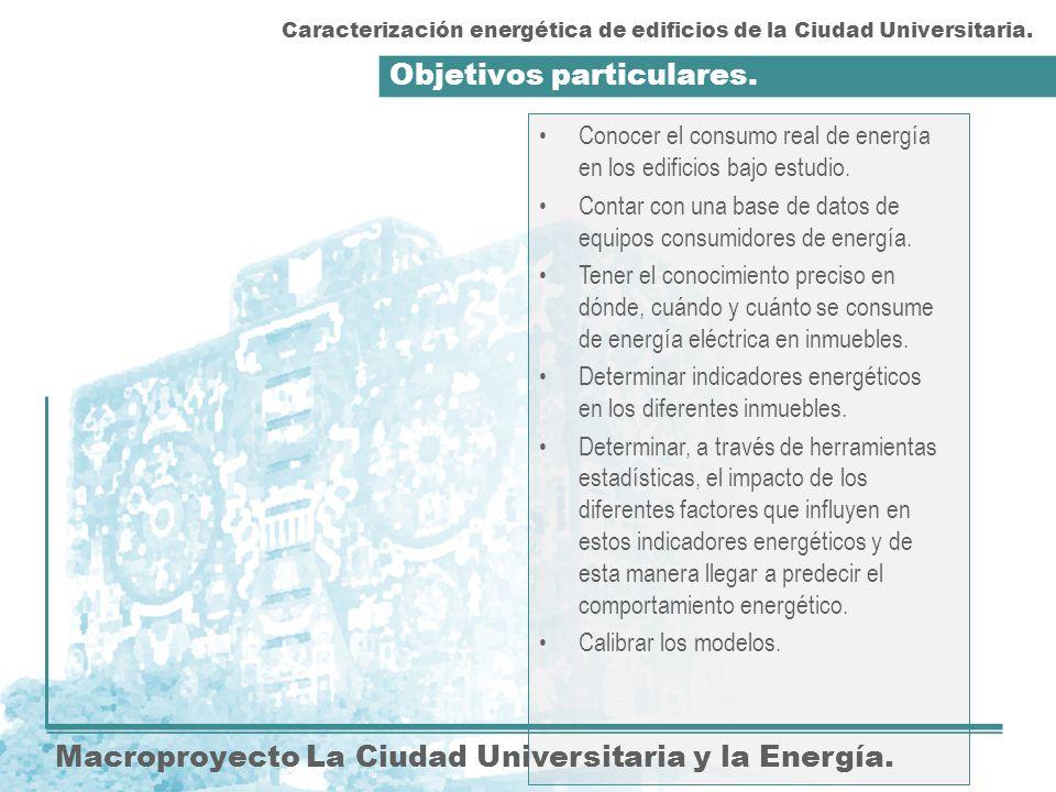 Objetivos particulares. Macroproyecto La Ciudad Universitaria y la Energía. Conocer el consumo real de energía en los edificios bajo estudio. Contar c