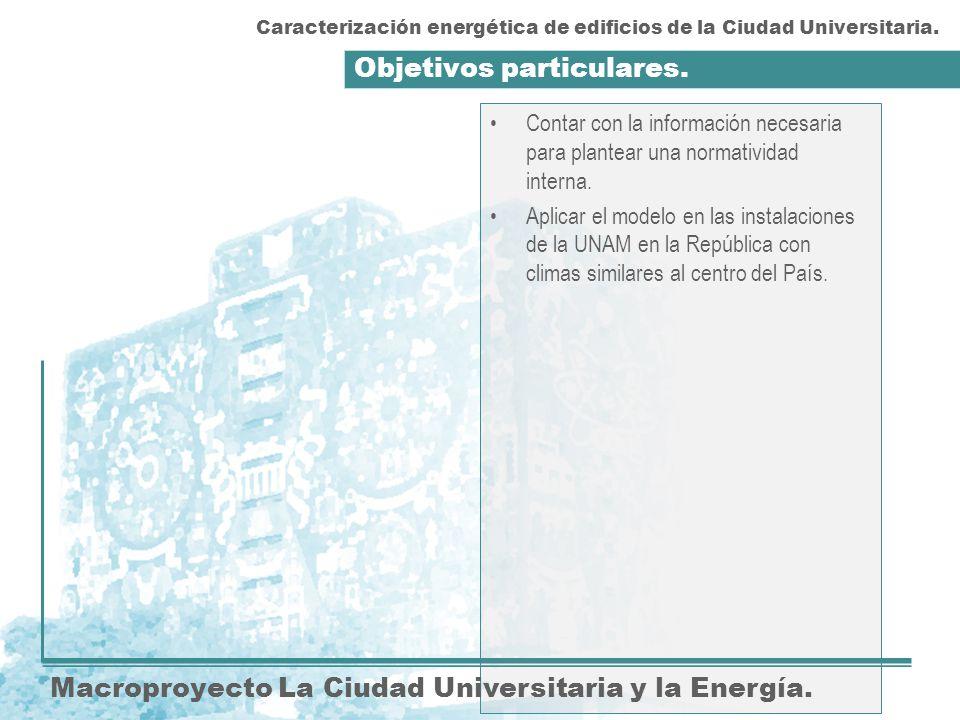 Objetivos particulares. Macroproyecto La Ciudad Universitaria y la Energía. Contar con la información necesaria para plantear una normatividad interna